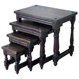 Image of 19th Spanish Walnut Nesting Side Tables With Tacks on the Top For Sale