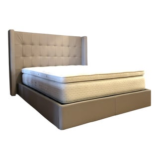 Roche Bobois Queen Platform Leather Bed With Additional Slats For Sale