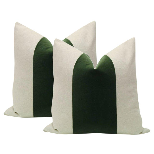 "22"" Fern Green Velvet Panel and Linen Pillows - a Pair - Image 1 of 4"