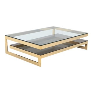 Belgo Chrome Golden G Coffee Table Extra Large For Sale