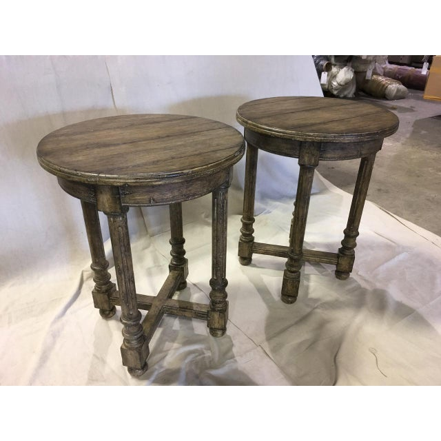 Pair of Guy Chaddock Attleboro round lamp table, brand new. Plank edge top with English edge and English fluted leg....