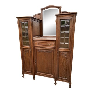 1900sArt Nouveau Oak Hutch For Sale