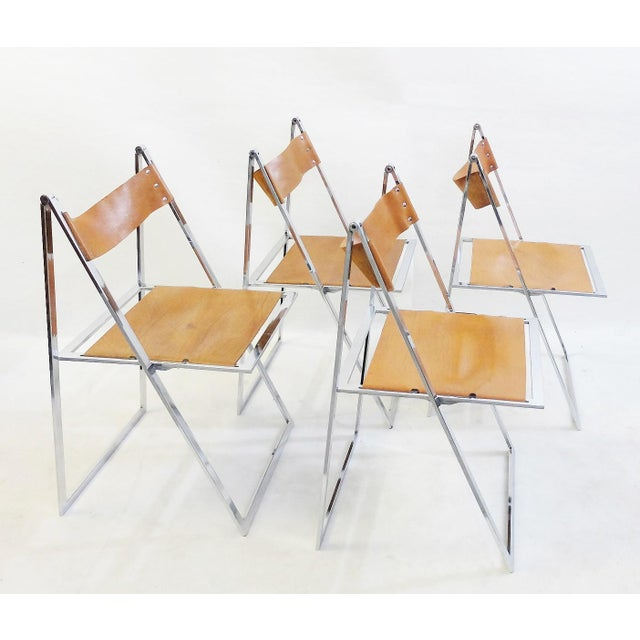 Set of 4 Folding Chairs 'Elios' by Fontoni & Geraci - 1960s For Sale - Image 9 of 9