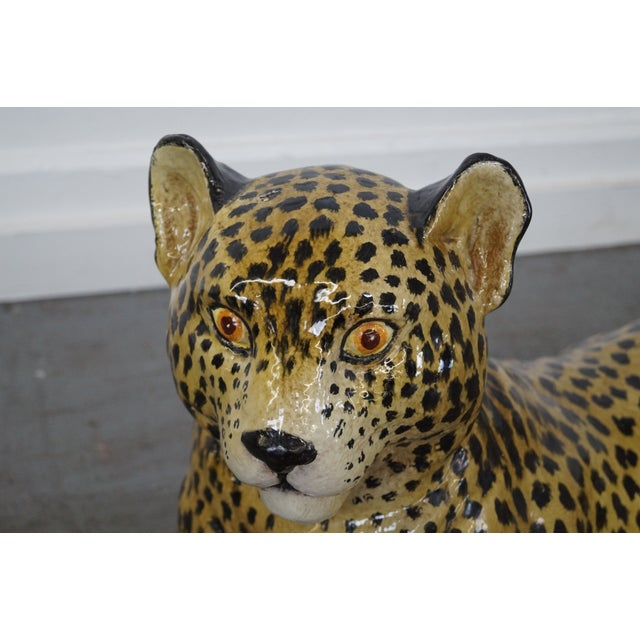 Large Italian Pottery Ceramic Leopard Statue For Sale - Image 7 of 10