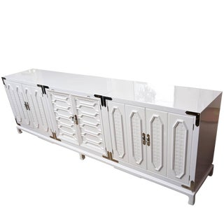 Vintage White Lacquered and Nickel Silver Cabinet or Buffet For Sale