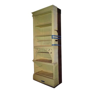 Oak Built-In Wooden Bookshelf For Sale
