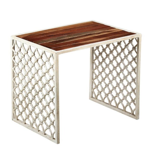 Modern Solid Acacia Wood & White Powder Coated Cast Iron Outdoor Side Tables, Set of Two For Sale - Image 3 of 3