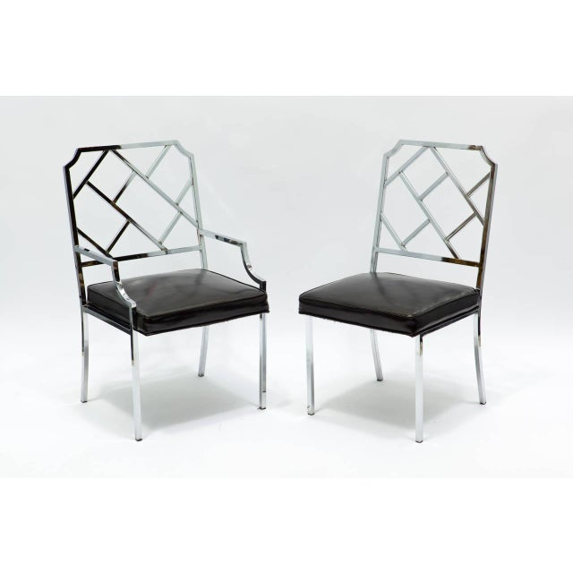 Six chrome lattice back super chic Milo Baughman dining chairs. Two-arm and four sides chairs.