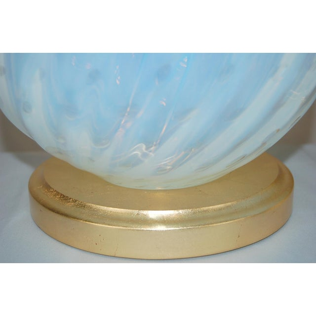 Blue Vintage Murano White Opaline Glass Table Lamps For Sale - Image 8 of 12