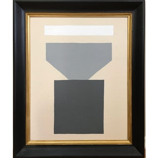 Vintage Mid Century Abstract Geometric Minimalist Painting For Sale