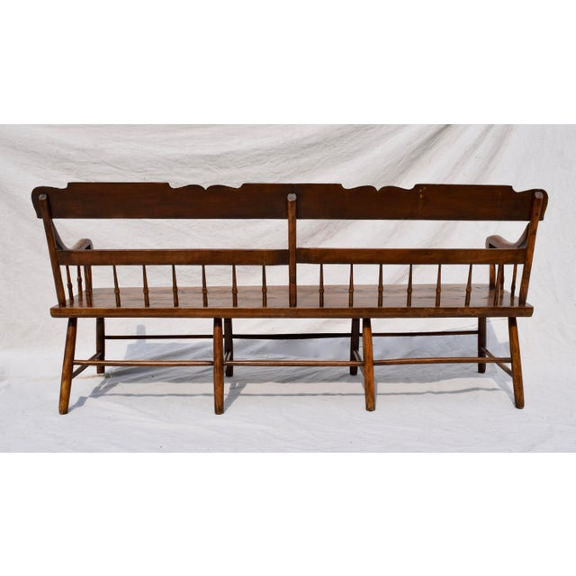 Pennsylvania Plank Half Spindle Bench For Sale In Philadelphia - Image 6 of 12
