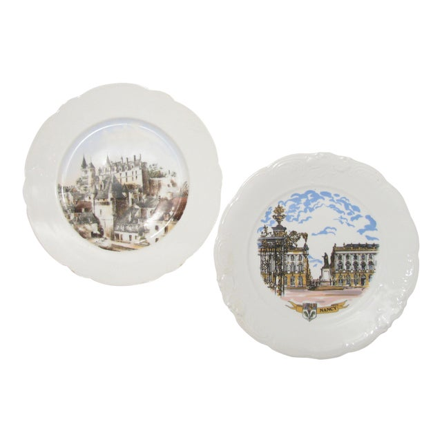 French Chateaux Plates - A Pair For Sale