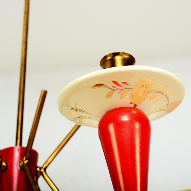 Metal 1950s Stilnovo Italian Sputnik 6 Arm Red Chandelier For Sale - Image 7 of 9