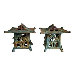 Vintage Japanese Iron Garden Lights-A Pair For Sale