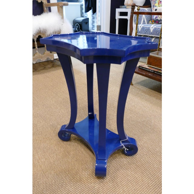 Bunny Williams Navy Blue Lacquered Side Table For Sale - Image 4 of 4