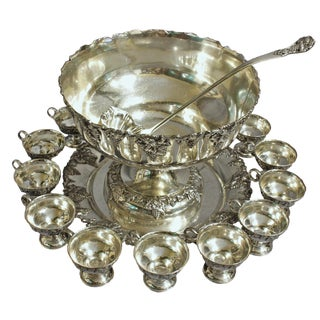 20th Century Silver Plated Punch Bowl Set - 15 PC. Set