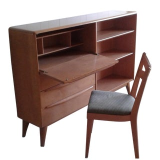 Heywood Wakefield Drop Down Bookcase Desk & Chair