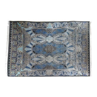 Late 20th Century Blue Chinese Floss Silk Rug-4′ × 6′ For Sale