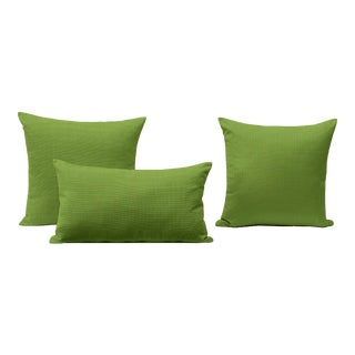Bamboo Green Outdoor Throw Pillows - Set of 3 For Sale