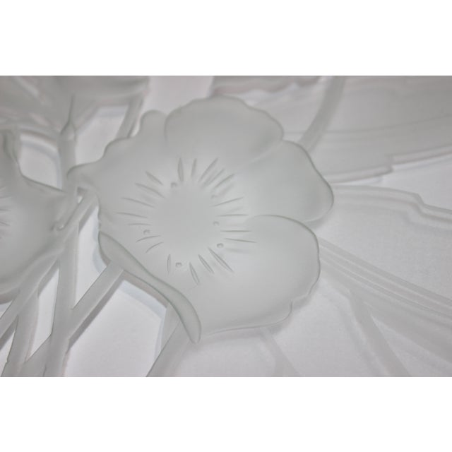 1940s Etched Glass Anemone Flower Vanity Tray With Decorative Lucite Faux-Handles from a Palm Beach estate. The extreme...