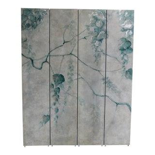 Hand Painted Botanical 4 Panel Folding Screen