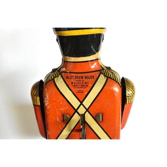 Orange Antique Working Lithograph Tin Wind-Up Toy Drum Major For Sale - Image 8 of 11