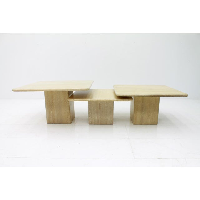 Italian Set of Three Italian Travertine Side Tables 1970s For Sale - Image 3 of 13