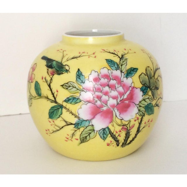 Green Japanese Porcelain Ware Yellow With Pink Flowering Branch and Bird Vase For Sale - Image 8 of 12