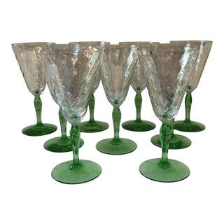 1930s Depression Glass Water Goblets - Set of 9 For Sale
