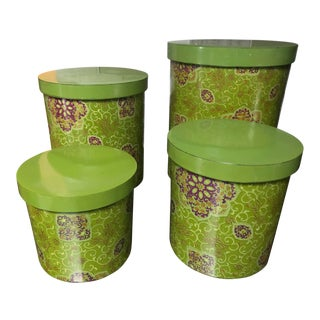 Vintage Mid Century Modern Avocado Green Canisters - Set of 4 For Sale