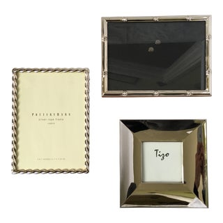 Contemporary Traditional Silver Picture Frames - Set of 3 For Sale