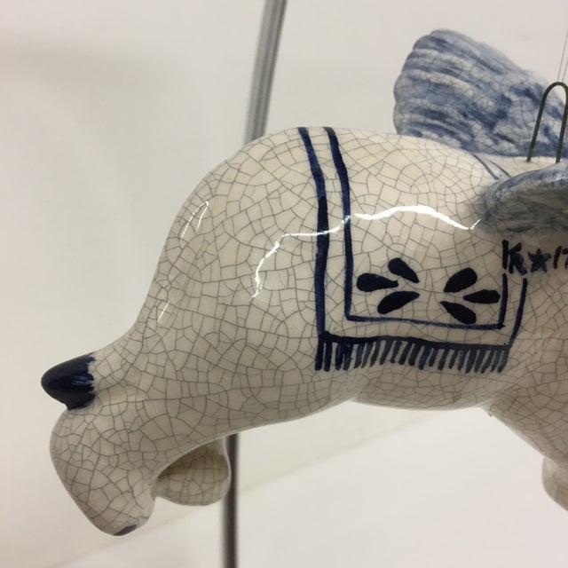 Blue Hand Painted Artisan Ceramic Flying Elephant For Sale - Image 8 of 11