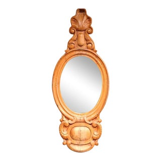 19th Century English Carved Light Pine Wall Mirror For Sale