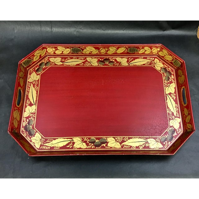 Vintage Tole Tray Red With Gold Stencil Design For Sale - Image 9 of 9