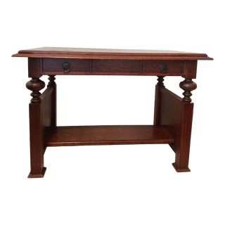 Antique Arts & Crafts Quarter Sawn Oak Library Table Desk For Sale