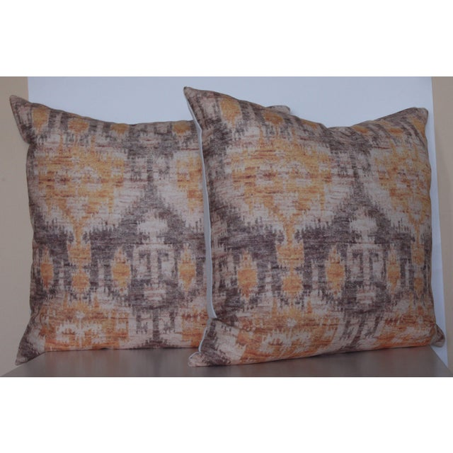 Yellow Vintage Ikat Print Pillows - A Pair For Sale In Chicago - Image 6 of 6