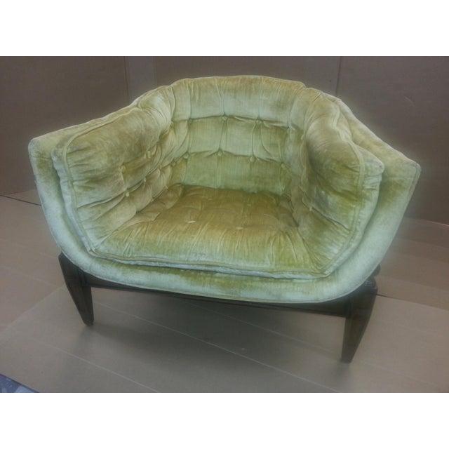 Gio Ponti Original Tufted & Tucked Gold Velvet Tripod Club Chair - Image 11 of 11