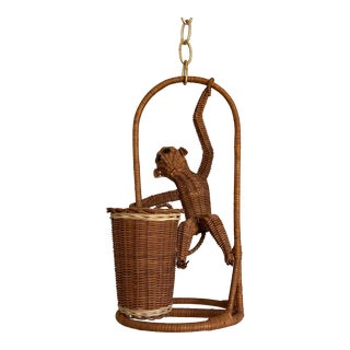 1970s Wicker Monkey Pendant Light For Sale