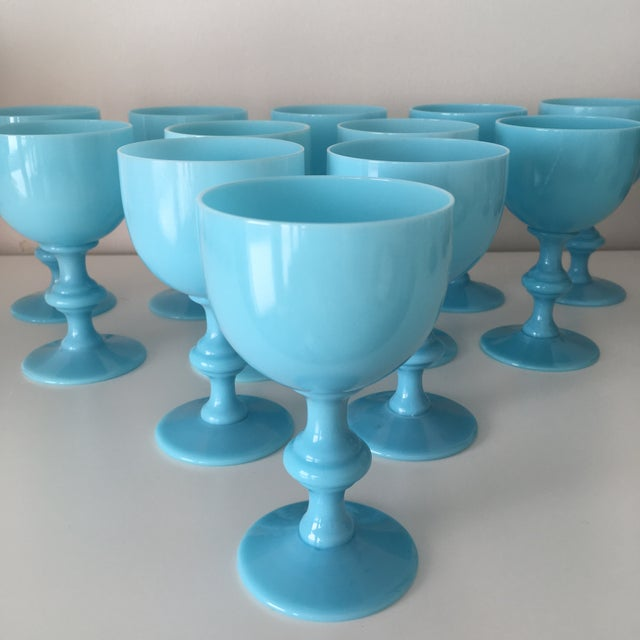 Set of 12, Beautiful Vintage Wine Goblets by Portieux Vallerysthal in a Turquoise Blue Opaline. Made in France. In...