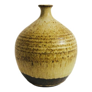 Vintage Stoneware Earth Tone Weed Pot For Sale