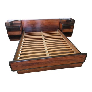 Circa 1970 Rosewood Platform Bed & Nightstands by Brouer For Sale