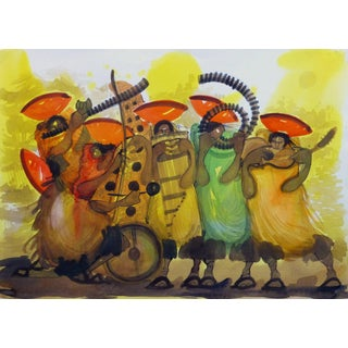 """""""Lively Local Musicians"""" Vibrant Colored Watercolor Drawing For Sale"""
