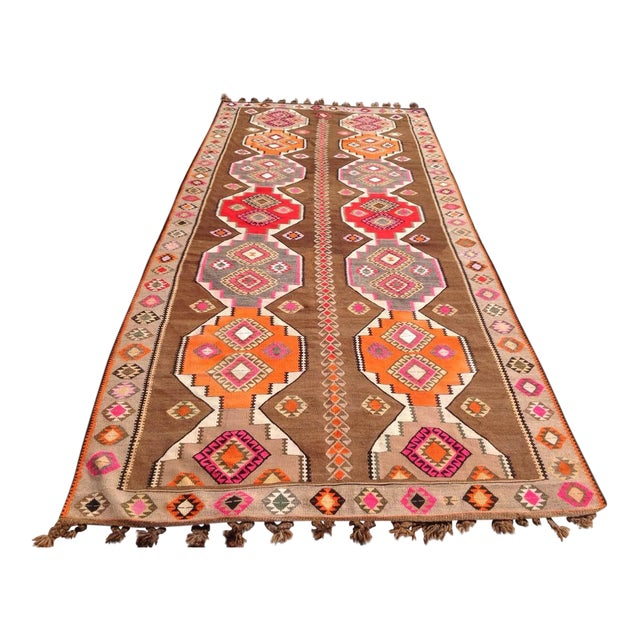 "Vintage Turkish Kilim Rug - 6'5"" X 11'6"" - Image 1 of 6"