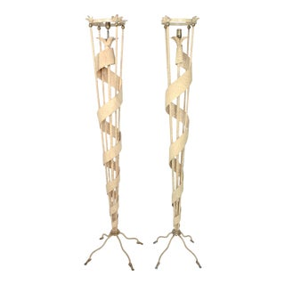 Modern Pair of Metal Torchiere Floor Lamps After James Mont For Sale