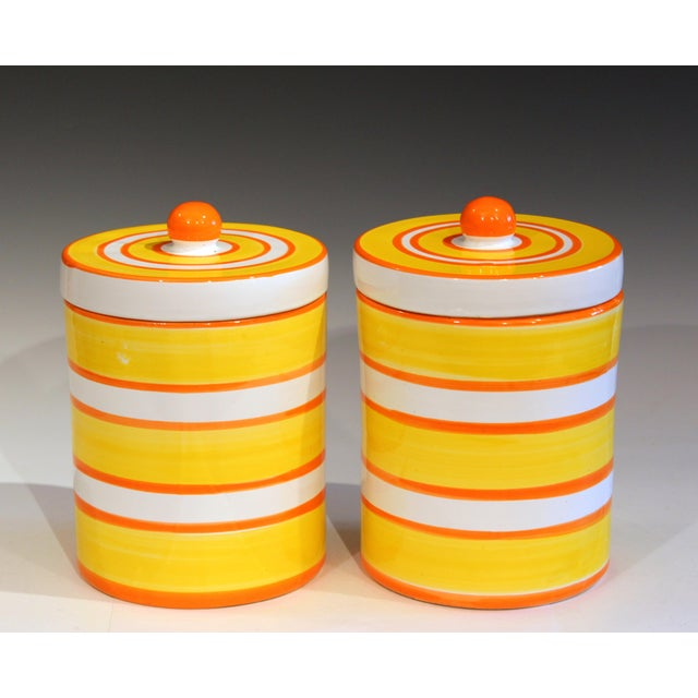 Italian Pottery Stripes Vintage Raymor Canisters - a Pair For Sale - Image 10 of 12
