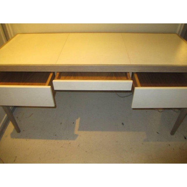 2010s Custom Cerused Oak and Parchment Desk Featuring Three Central Drawers For Sale - Image 5 of 6