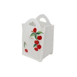Vintage Italian Porcelain Shopping Bag With Cherries