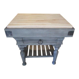 Kitchen Island With Butcher Block Top For Sale