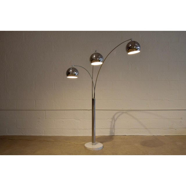 Mid Century Sonneman Style 3 Light Chrome Arc Floor Lamp with Marble Base For Sale In Detroit - Image 6 of 11