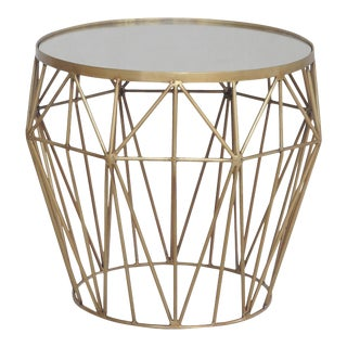 Modern Brass and Glass Side Table For Sale
